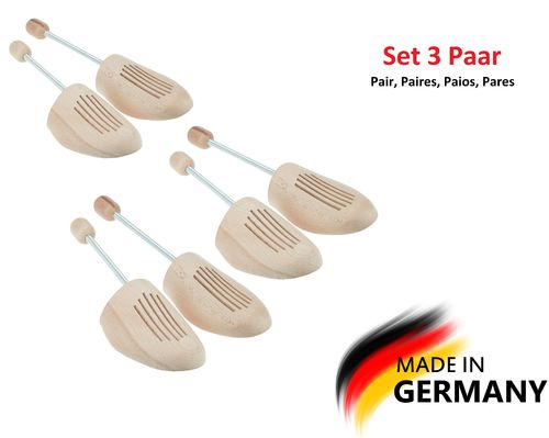 Max Basic Premium Schuhspanner Buche, by MTS shoecare, made in Germany (Set 3 Paar)